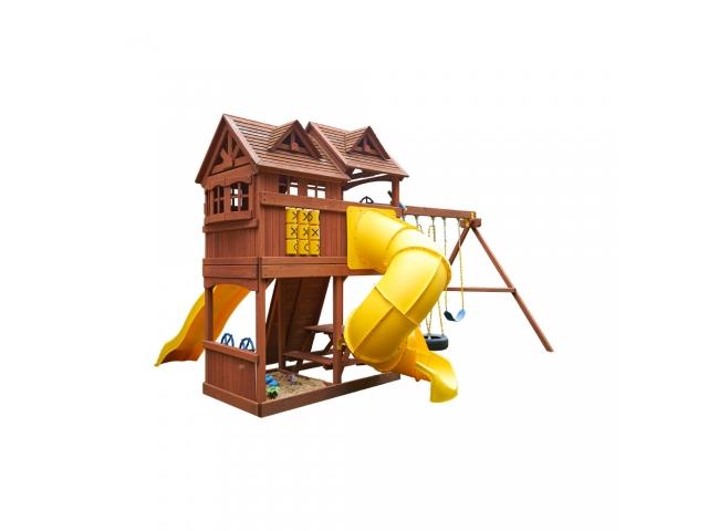 Детская деревянная площадка «Новый рассвет» с винтовой горкой