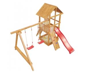 Деревянная детская площадка «Сибирика» с сеткой